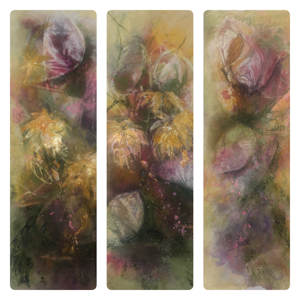 Fading Blooms - Three individual paintings Framed